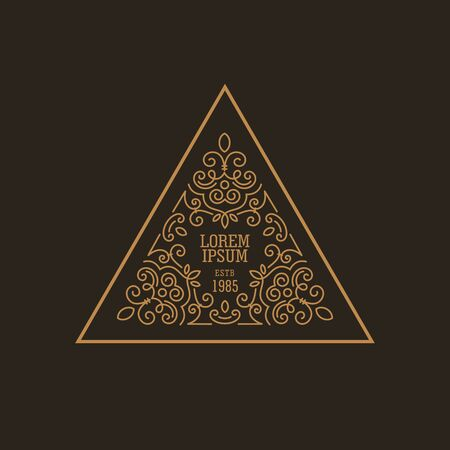 Vintage Luxury Logo design triangle shape template flourish calligraphic elegant.   Business logotype emblem, identity for Boutique ,Restaurant, Heraldic, Jewelry, Fashion illustration lineart style.