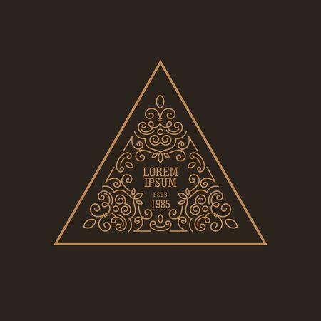 Vintage Luxe Logo ontwerp driehoeksvorm template floreren kalligrafische elegant. Zakelijke logo embleem, identiteit voor Boutique, Restaurant, heraldisch, sieraden, mode illustratie Lineart stijl. Stock Illustratie