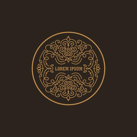 Vintage Luxury Logo ontwerp cirkelvorm template floreren kalligrafische elegant. Zakelijke logo embleem, identiteit voor Boutique, Restaurant, heraldisch, sieraden, mode illustratie Lineart stijl.
