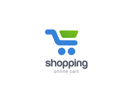 Online Shopping cart Logo design vector template concept icon.