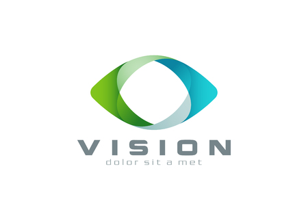 green eyes: Eye Logo vision abstract design vector template.  Business Technology multi-use logotype concept icon.