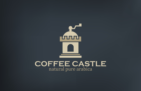 coffeehouse: Coffee Mill such as Castle Logo vintage design vector template.  Good for Coffee & Coffeehouse retro Logotype. Creative concept icon.