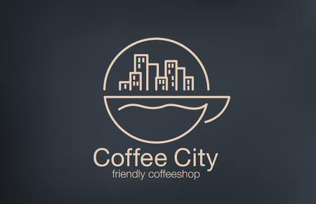 coffee: Coffee shop Logo design lineart vector template.  Cityscape on Sunrise over cup of coffee concept logotype idea.