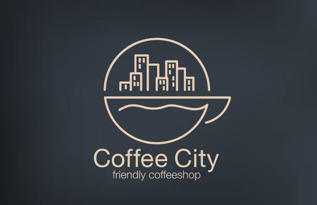 Coffeeshop Logo ontwerp Lineart vector sjabloon. Cityscape op Zonsopgang over kopje koffie begrip logo idee.