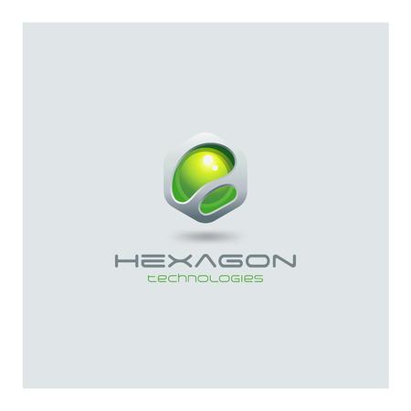 Hexagon abstract Logo media web technology design vector template. Sci-fi creative hitech style logotype icon. Vectores