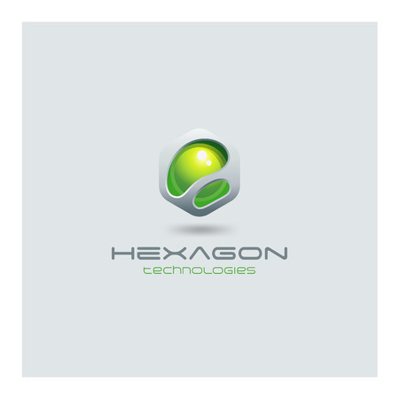 Hexagon abstract Logo media web technology design vector template.