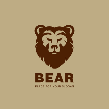 predators: Bear head Logo design vector silhouette.  Stock exchange, Hunting, wild animal logotype concept icon.