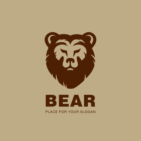 Bear head Logo design vector silhouette. Stock exchange, Hunting, wild animal logotype concept icon. Vettoriali