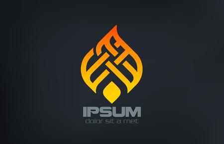 logo element: Fire Flame Ornament Silhouette Logo design vector template.  Creative Ramadan torch concept logotype. Burn Campfire icon. Illustration
