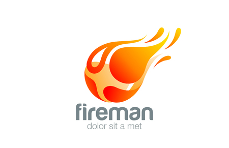 game play: Man in Fire Flame Logo design abstract vector design template.  Flying Fireball Energy game play logotype. Fireman icon. Power concept.