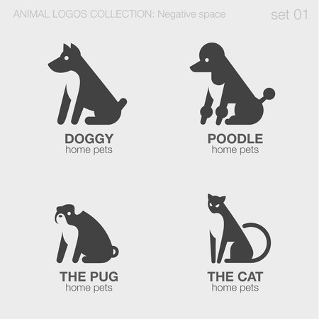 Home pets Animals Logos negative space style design vector templates. Abstract dog, poodle, pug, cat silhouettes logotype concept icons set. Stock Illustratie