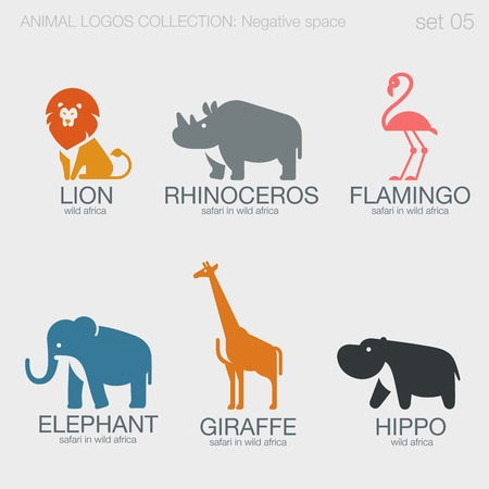 negativity: Africa Safari Wild Animals Logos negative space style design vector templates.  Lion, Rhino, Flamingo,Elephant, Giraffe,Hippo silhouettes logotype concept icons set.