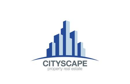 horizonte: Inmobiliaria Logo Edificios en la plantilla horizonte de diseño vectorial. Paisaje urbano de la construcción de bienes inmuebles de logo. Rascacielos Arquitectura icono.