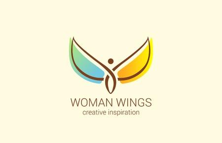 schönheit: Fliegen Frau mit Flügeln Logo abstrakte Design-Vorlage Vektor. Kreatives Konzept für Frauen-Shop: wie eine Frau glücklich zu machen. Engel Logo-Symbol.