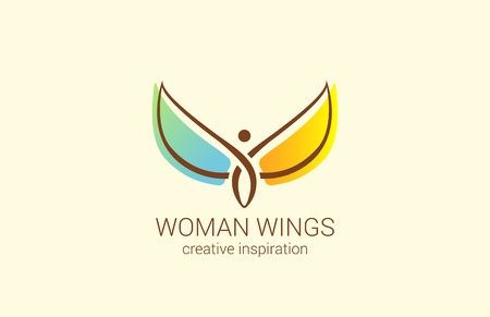 wings logos: Flying Woman with Wings Logo abstract design vector template.  Creative concept for Womens Shop: how to make woman happy. Angel logotype icon.