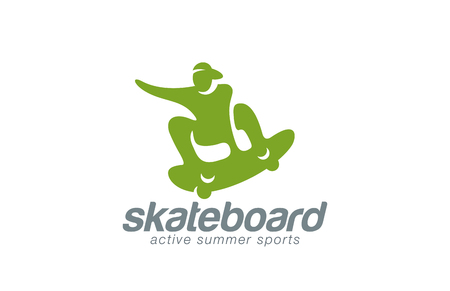 Skateboard logo design vector template. Active sport icon.  Skater jumping logotype. Skateboarding man abstract extreme concept.