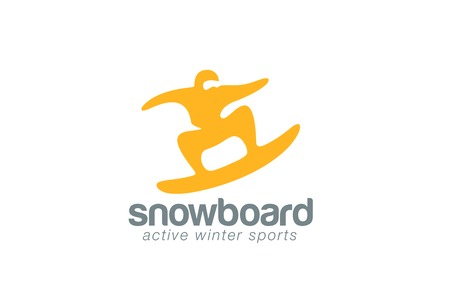 Snowboard logo design vector template. Winter Active sport icon.  Skateboarding jumping logotype. Man abstract extreme concept.