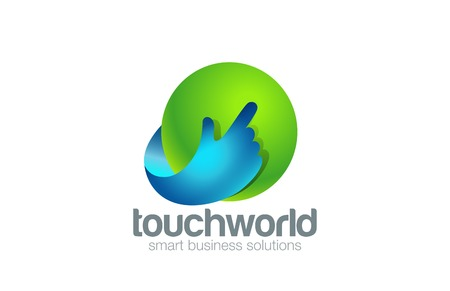 technology: Hand Touch Logo Technology design vector template.  Finger pressing button Logotype app concept. Touchscreen icon.