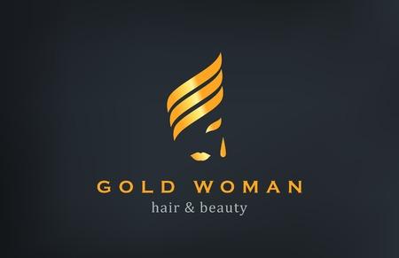 Woman face Logo Jewelry Fashion Luxury vector design template. Creative Gold logotype. Illustration