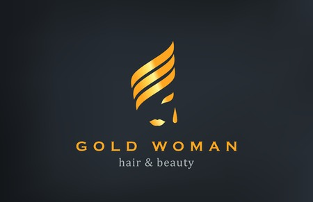 Woman face Logo Jewelry Fashion Luxury vector design template.  Creative Gold logotype. Çizim