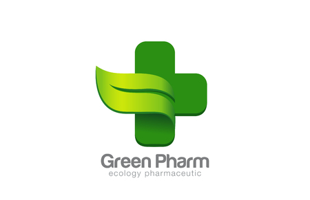 Green Eco Pharmacy Medical Cross Logo design vector template.  Ecology Medicine Logotype concept. Green Leaf natural symbol.