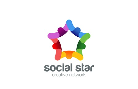 holding hands: Social Star Logo design vector template. Business Team Concept icon.  People holding hands looped infinity Friendship Partnership Logotype.