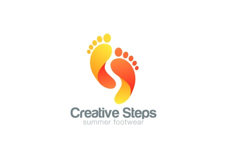 Foot stappen Logo abstract vector sjabloon. Creative voetstappen schoenen logo icoon concept. Stock Illustratie