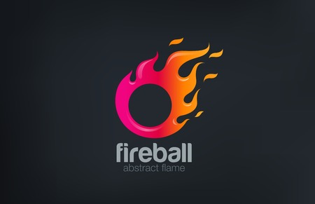 Fireball Logo Fire flame abstract design vector template.  Circle shape fast speed comet logotype icon. Illustration