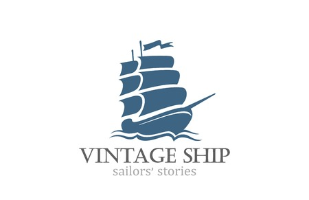 Vintage Ship Logo Sailing Boat design vector template.  Ancient Pirate Sailboat Logotype silhouette concept icon. Иллюстрация