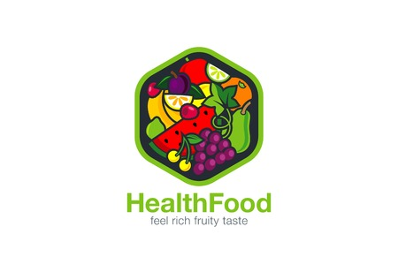 과일 로고 디자인 벡터 템플릿 육각형 모양. 채식 식품 로고 타입 개념. 상점, 시장 개념 아이디어