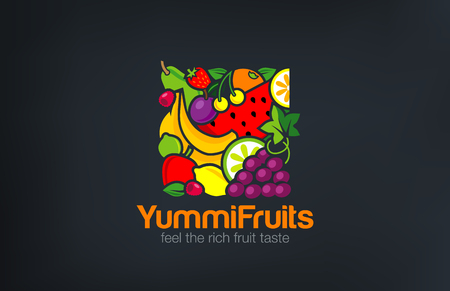 Mix Fruits Logo design vector template square shape.