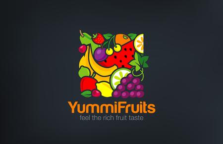 Mix Fruits Logo design vector template square shape. Vegetarian food Logotype concept. Shop, Market concept idea