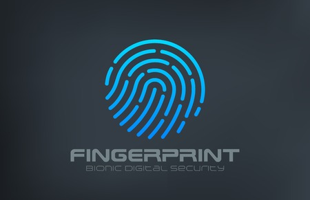 touch: Fingerprint Logo Touch Security design vector template.  Biometric Access Scan Application Logotype. App icon concept. Illustration