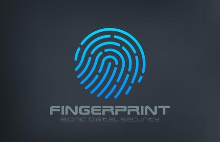 Fingerprint Logo Touch Security design vector template.  Biometric Access Scan Application Logotype. App icon concept. Çizim