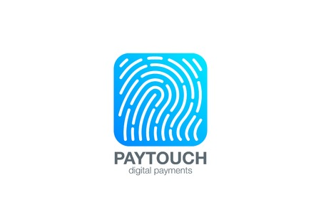 touch: Fingerprint Logo Touch Security design vector template Square shape.  Biometric Access Scan Application Logotype. App icon concept.
