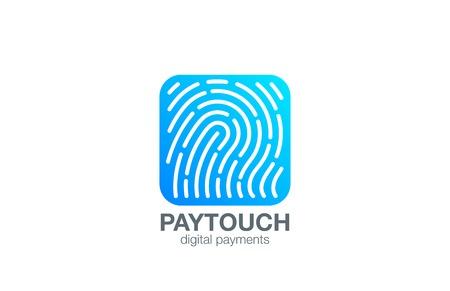 labirinth: Fingerprint Logo Touch Security design vector template Square shape.  Biometric Access Scan Application Logotype. App icon concept.