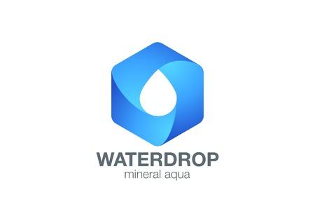Clear Water drop Logo aqua hexagon infinity loop vector template design. Waterdrop drink Logotype. Droplet infinite shape design element.