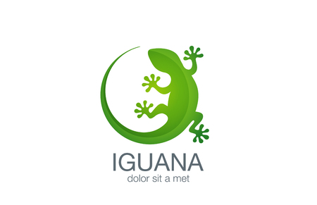 Lizard Logo design vector template. Iguana icon illustration.  Salamander logotype. Gecko concept top view. Ilustracja