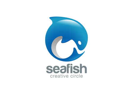 dolphin fish: Abstract Fish Logo Dolphin design vector template.  Fish Market Store Shop Logotype concept icon. Illustration