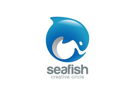 dauphin: Résumé poisson Logo template vecteur de conception Dolphin. Fish Market magasin Boutique Logotype notion icône.