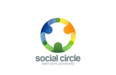 round shape: Social Team work Logo design vector template with abstract characters.  People holding hands in circle Friendship, Partnership, Cooperation, Team logotype concept icon.