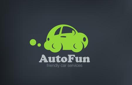 Logo auto retro grappig design vector template. Auto reparatie Logotype. Vintage Vehicle silhouet icoon.