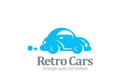 carwash: Logo car retro design vector template.  Auto repair service Logotype. Vintage Vehicle silhouette icon. Illustration