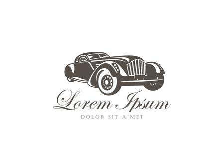 Retro auto Logo abstract ontwerp vector sjabloon. Vintage auto Logotype. Klassieke auto concept pictogram.