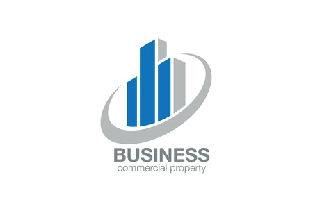 不動産ロゴ抽象的なデザイン ベクトル テンプレートです。金融の概念。  証券取引所ロゴ アイコンのチャート図などの様式化された高層ビル。