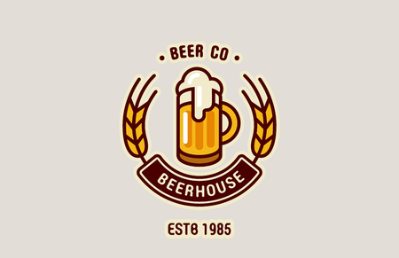 Mok van het Bier Logo abstract ontwerp vintage vector template. Brouwerij, Pub, Beerhouse, Bar Logotype retro Lineart icoon.