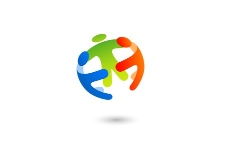 team: Social Team work Sphere Logo design vector template with abstract characters.  People holding hands: Friendship, Partnership, Cooperation, Family logotype concept icon.