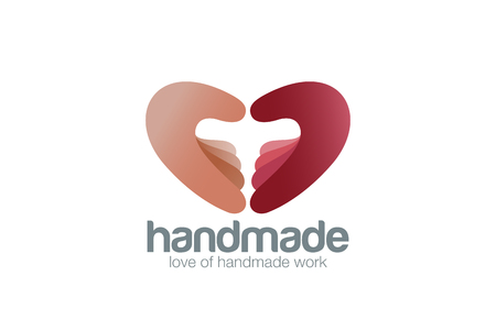 handmade: Two Hands as Heart shape Logo Handmade design vector template.  Creative work support logotype concept icon.
