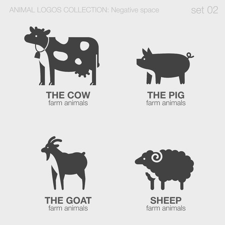 Farm Animals Logos negative space style design vector templates.  Cow, pig, goat, sheep silhouettes logotype concept icons set.