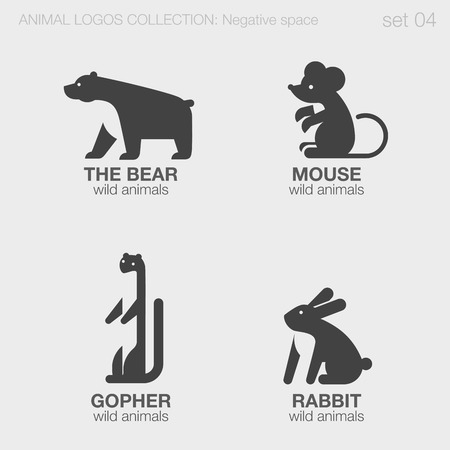 Wild Animals Logos negative space style design vector templates. Bear, Mouse, Gopher, Rabbit silhouettes logotype concept icons set.